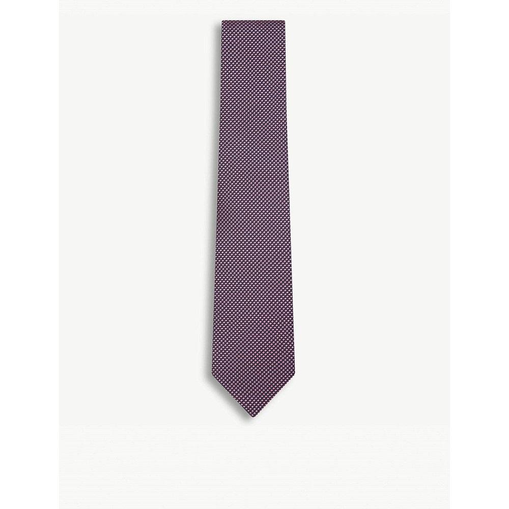 イートン メンズ ネクタイ【geometric-pattern silk tie】Pink/red