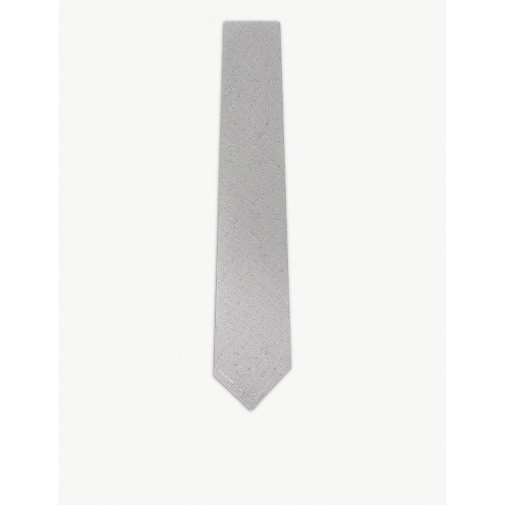 イートン メンズ ネクタイ【twill weave cotton and silk-blend tie】Grey