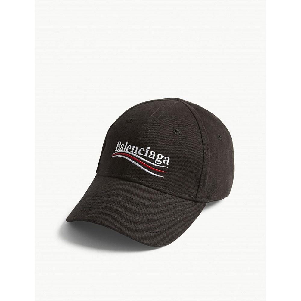 バレンシアガ レディース 帽子 キャップ【bernie logo cotton strapback cap】Black/white