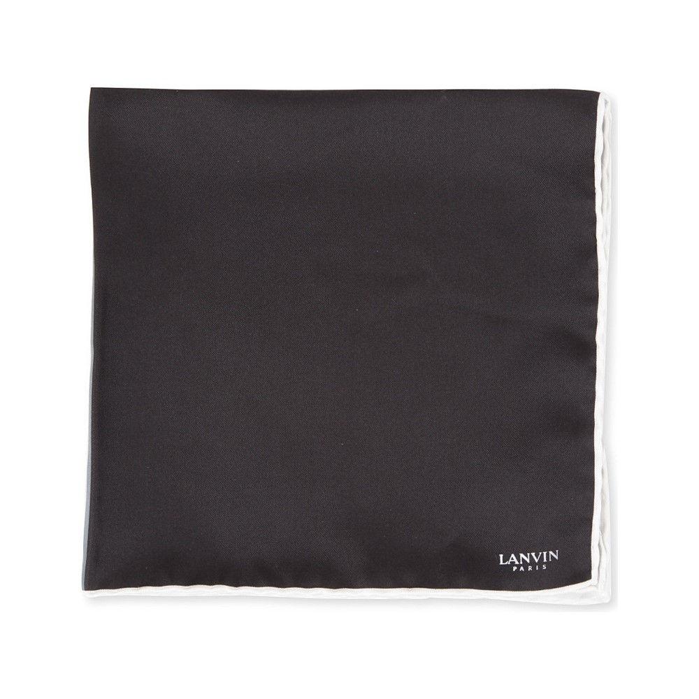 ランバン メンズ ハンカチ・チーフ【colour-block pocket square】White/ black/ grey