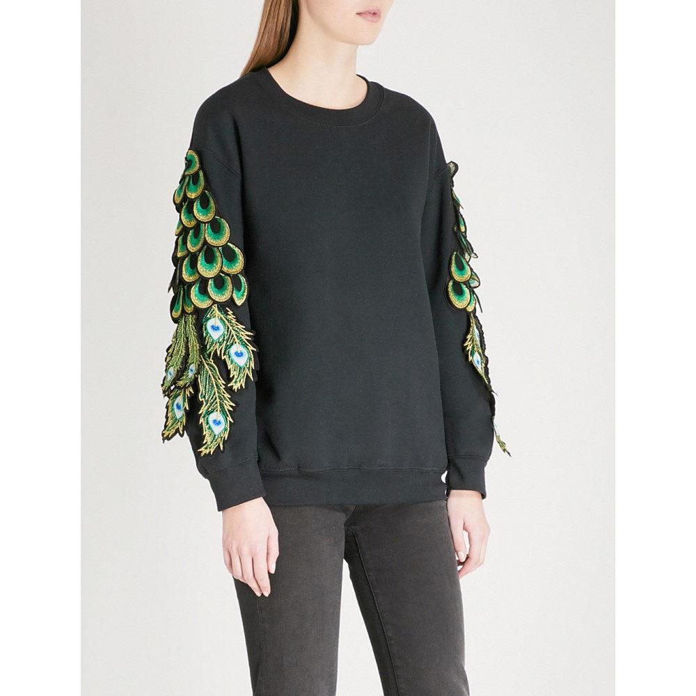 ラグヤード レディース トップス スウェット・トレーナー【peacock applique cotton-jersey sweatshirt】Black