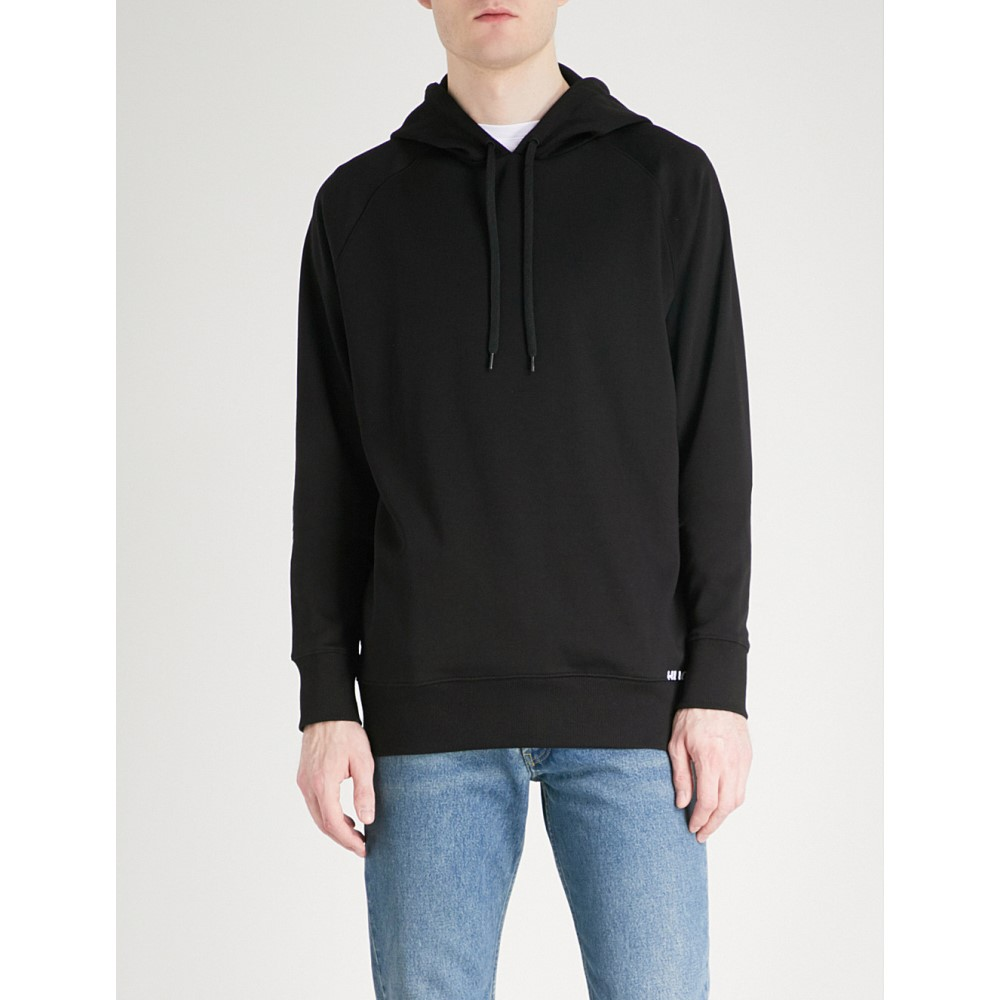 ヒューゴ ボス メンズ トップス パーカー【branded cotton-jersey hoody】Black