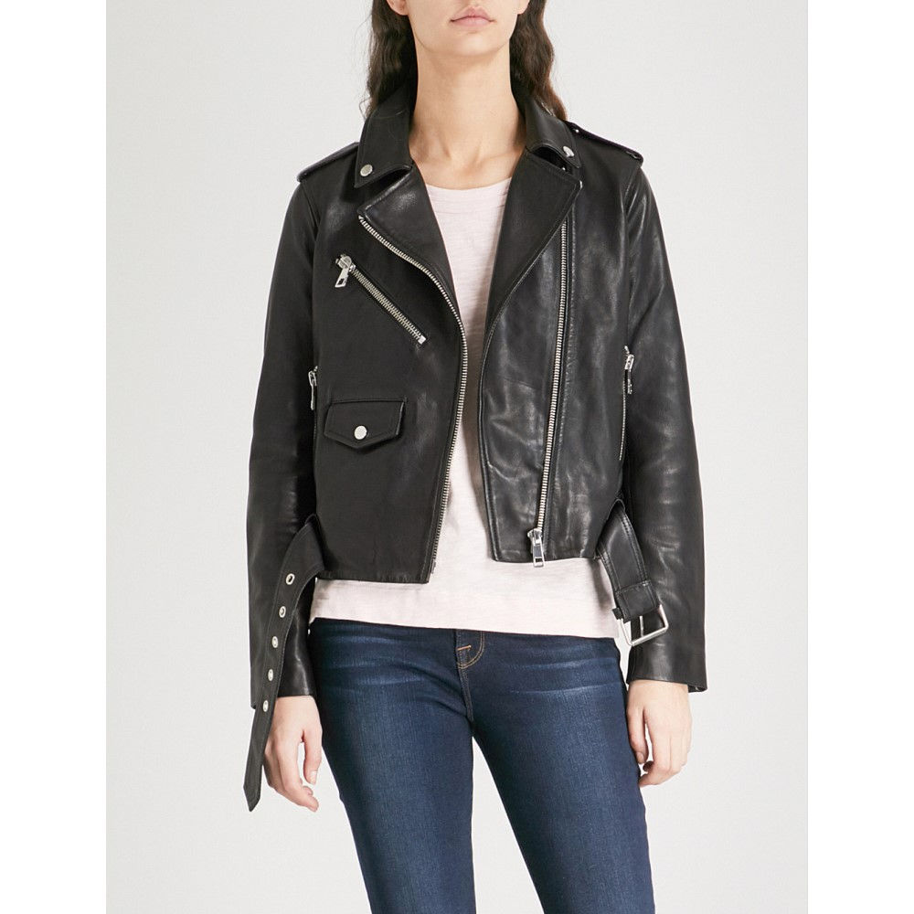 ホイッスルズ レディース アウター レザージャケット【agnes belted leather biker jacket】Black