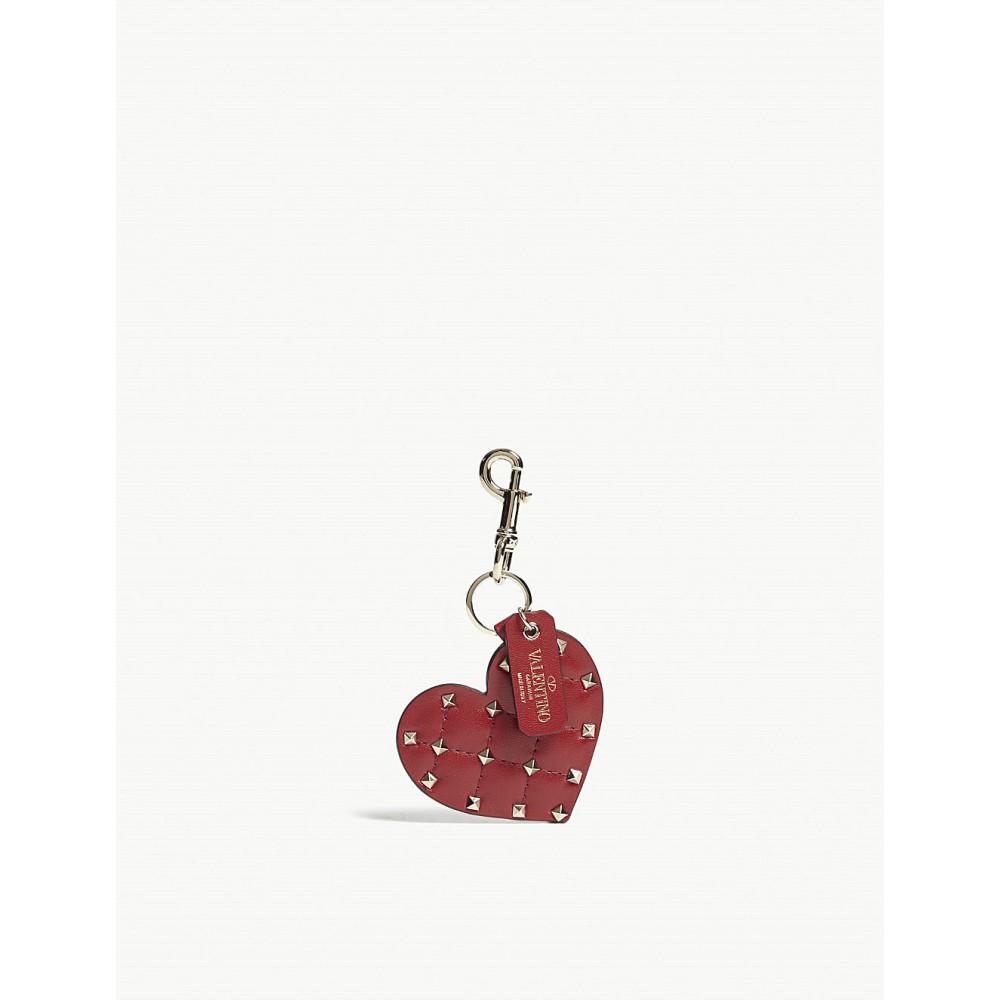 ヴァレンティノ レディース キーホルダー【rockstud spikes heart leather bag charm】Red