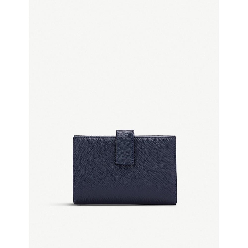 スマイソン レディース 財布【panama small cross-grain leather continental purse】Navy
