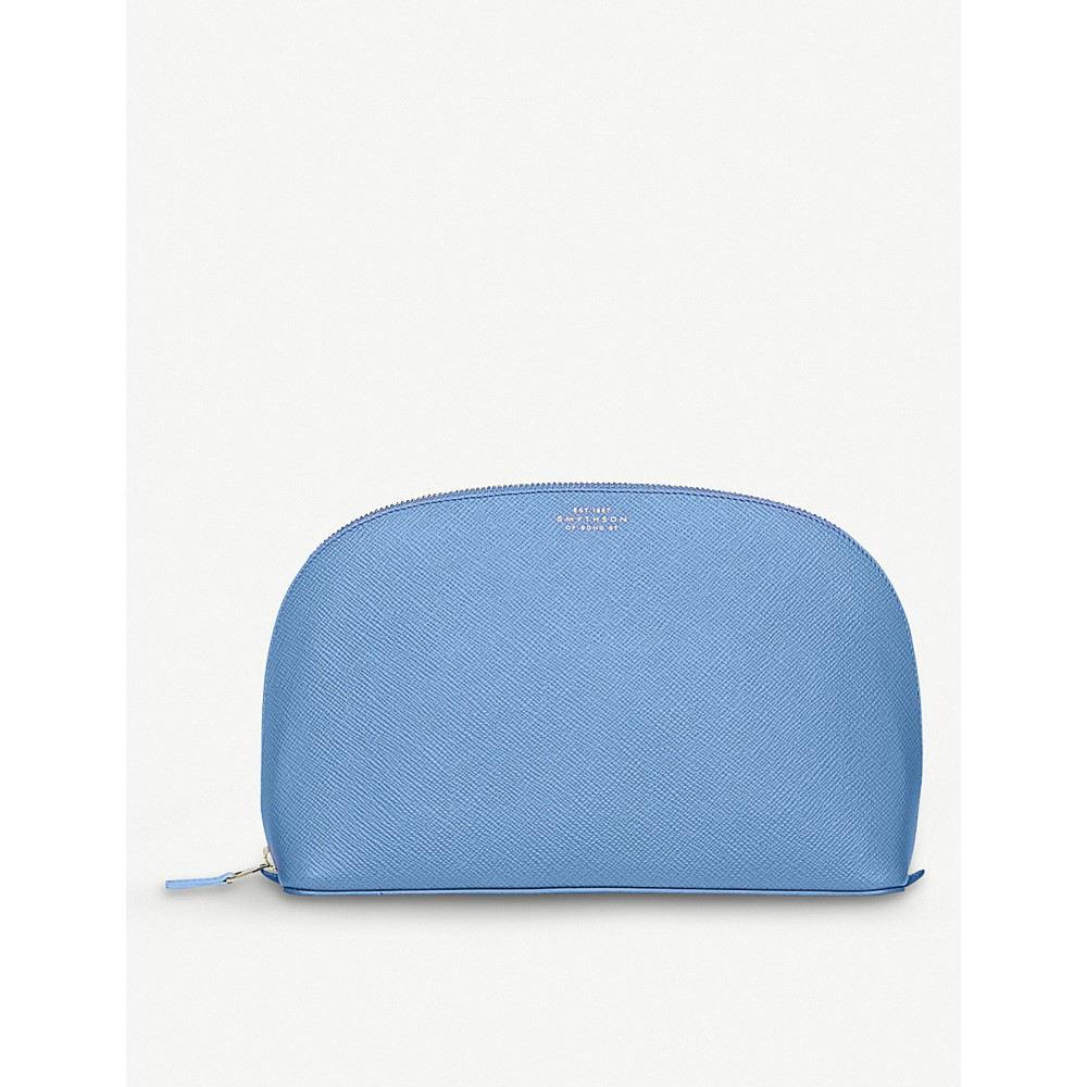 スマイソン メンズ ポーチ【panama large grained-leather washbag】Nile blue