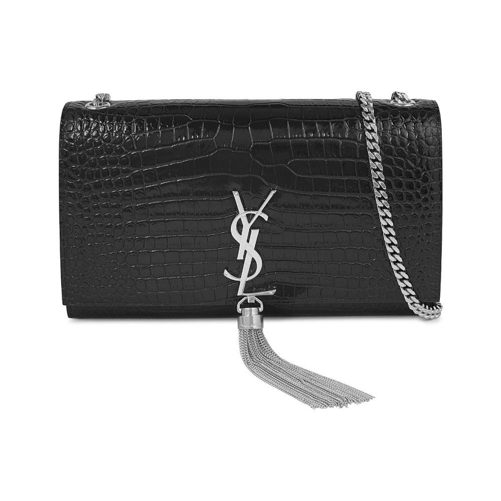 イヴ サンローラン レディース バッグ ショルダーバッグ【monogram croc-embossed leather satchel】Black