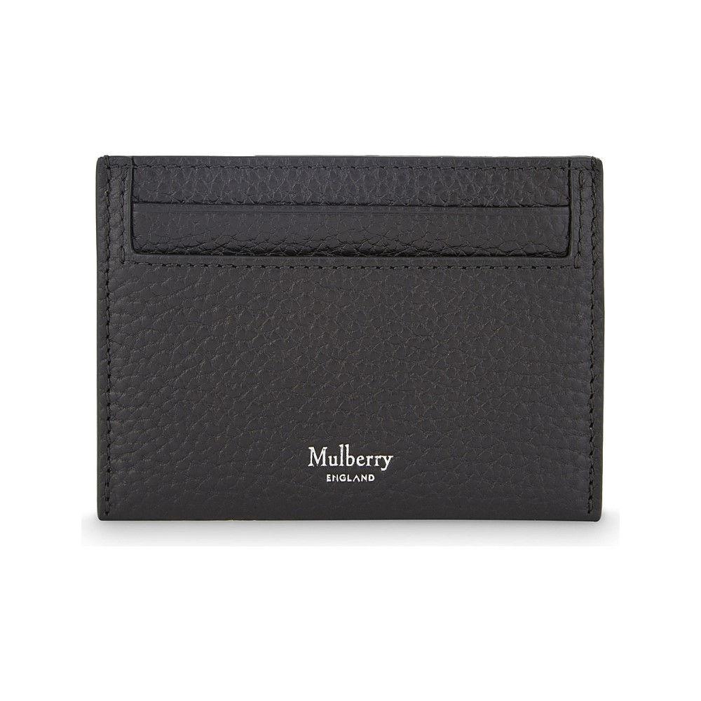 マルベリー メンズ カードケース・名刺入れ【grained leather card holder】Black