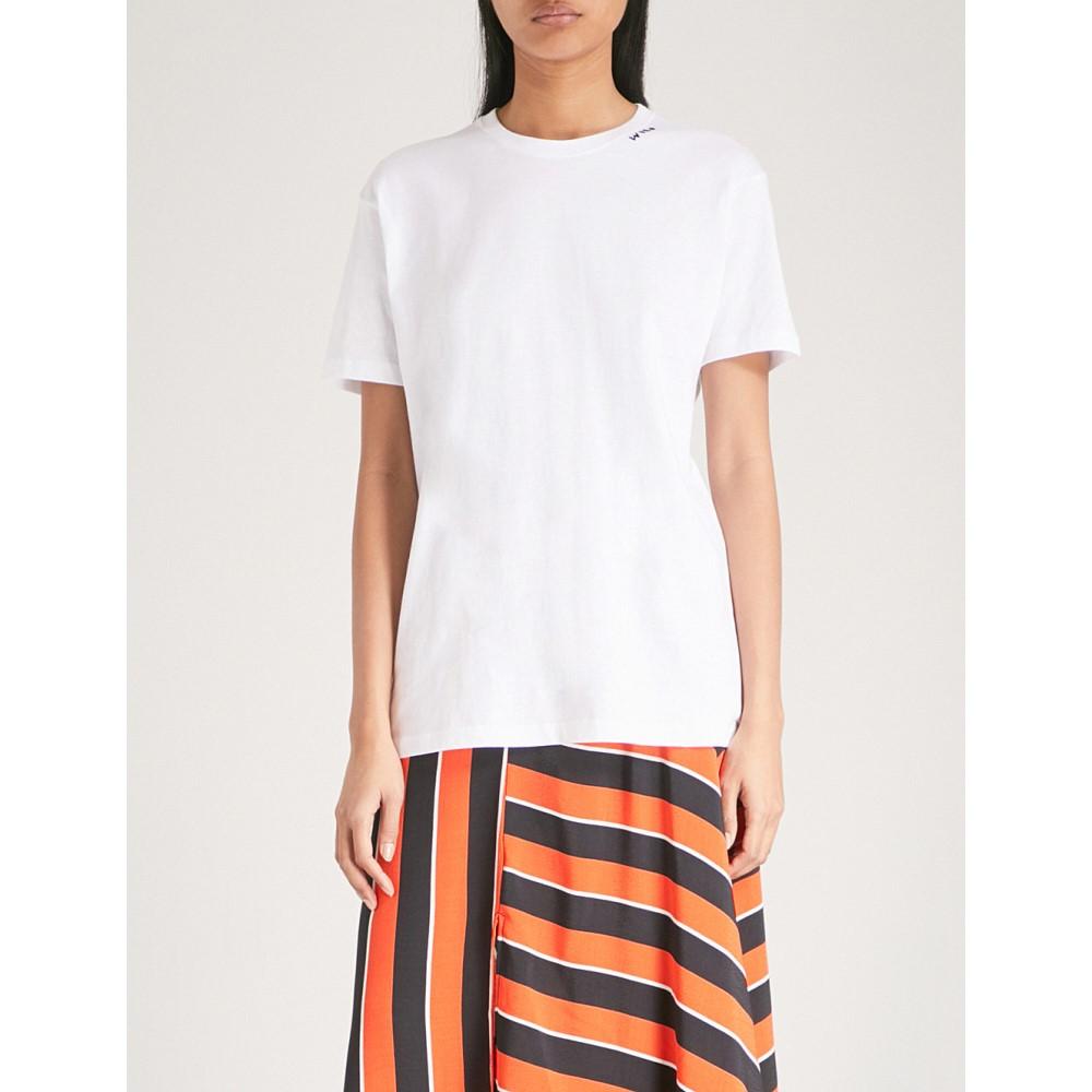 イエーライト レディース トップス Tシャツ【wild side embroidered cotton-jersey t-shirt】White with navy