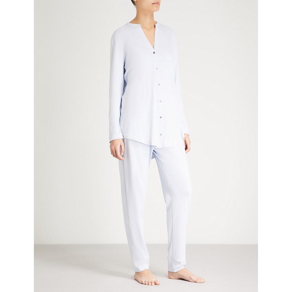 ハンロ レディース インナー・下着 パジャマ・上下セット【pure essence cotton-jersey pyjama set】Blue glow