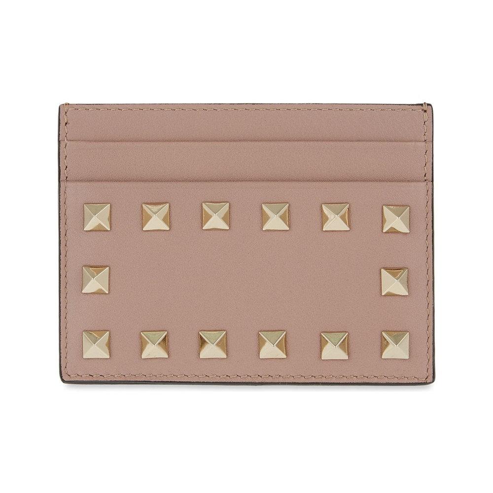 ヴァレンティノ レディース カードケース・名刺入れ【rockstud leather card holder】Poudre
