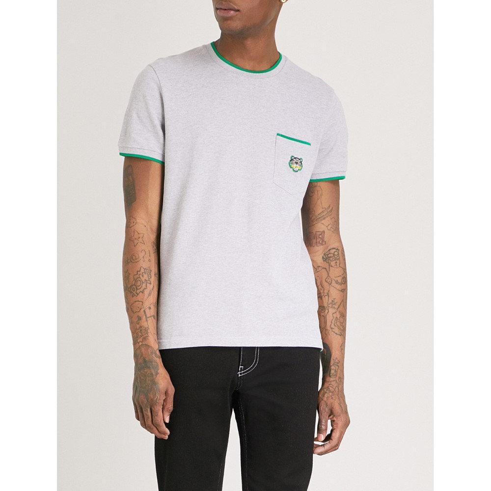 ケンゾー メンズ トップス Tシャツ【tiger-embroidered cotton-pique t-shirt】Pale grey