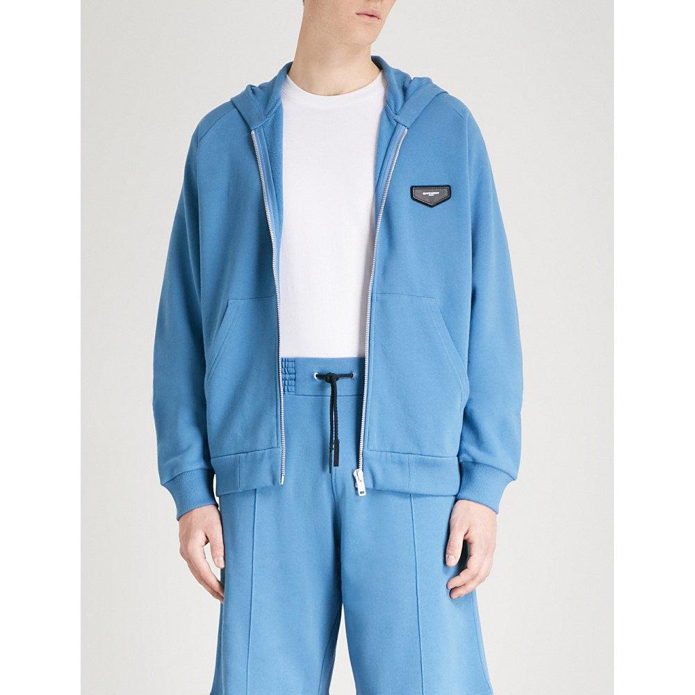 ジバンシー メンズ トップス パーカー【logo-patch cotton-jersey hoody】Blue