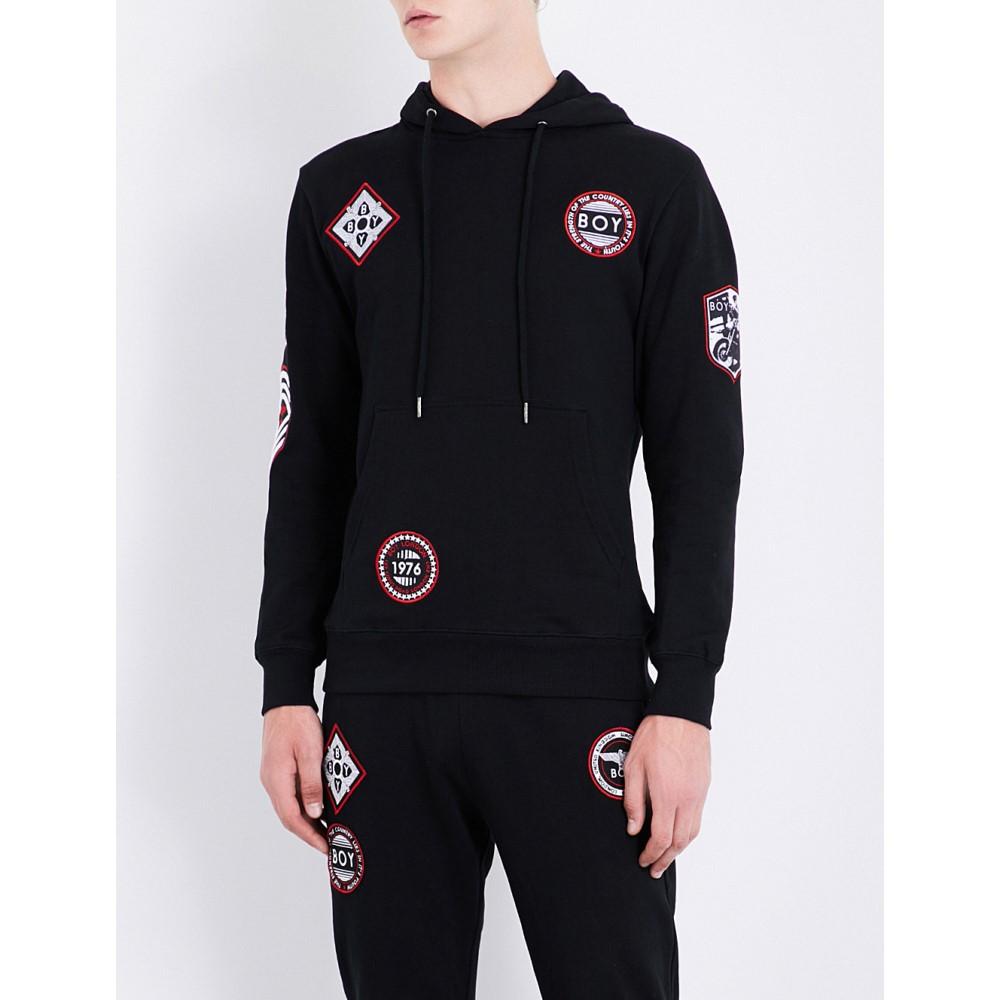 ボーイロンドン メンズ トップス パーカー【patch-detailed cotton-jersey hoody】Black