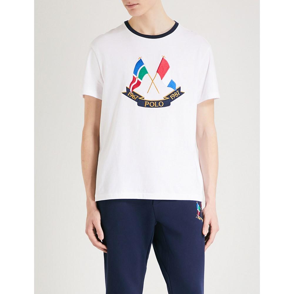 ラルフ ローレン メンズ トップス Tシャツ【cross flags cotton-jersey t-shirt】White
