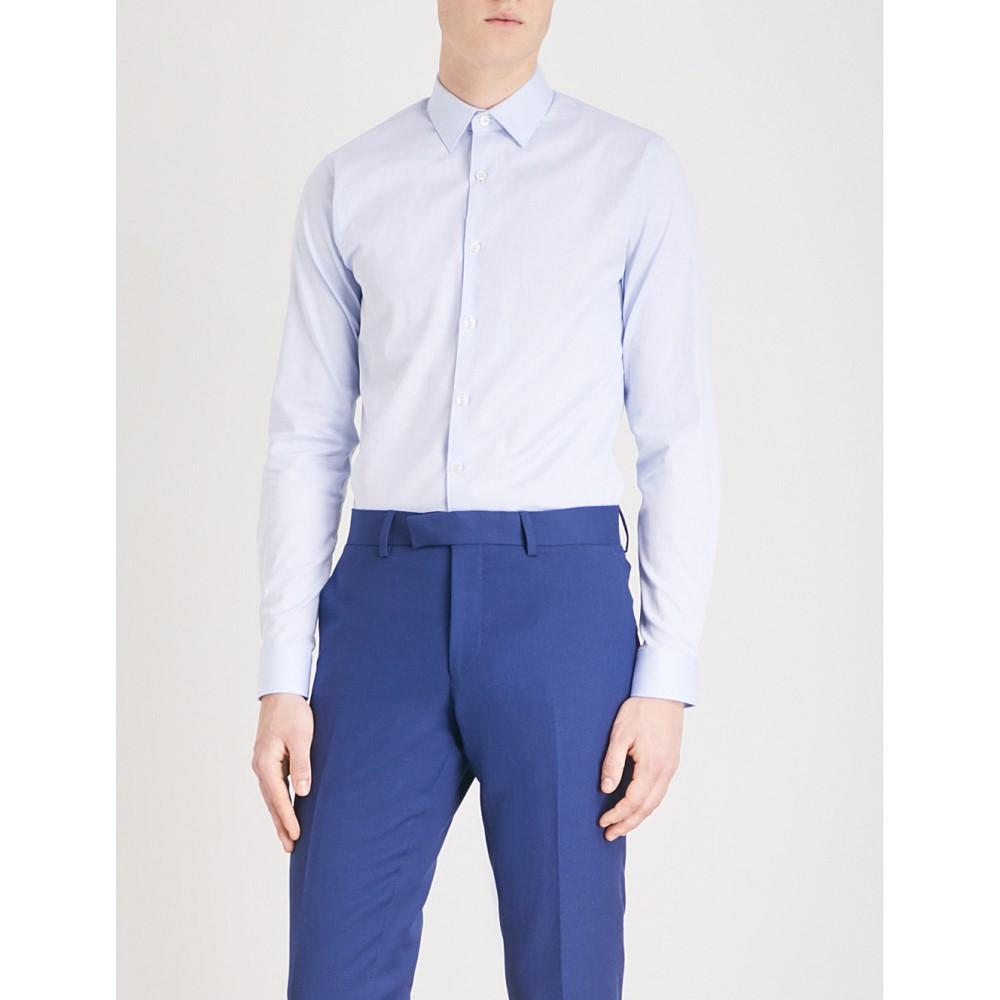 タイガー オブ スウェーデン メンズ トップス シャツ【brody honeycomb extra slim-fit stretch-cotton shirt】Light blue