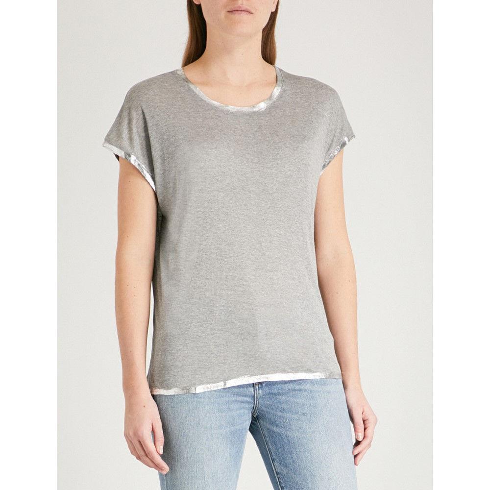 ザディグ エ ヴォルテール レディース トップス Tシャツ【margaret foil jersey t-shirt】Grey
