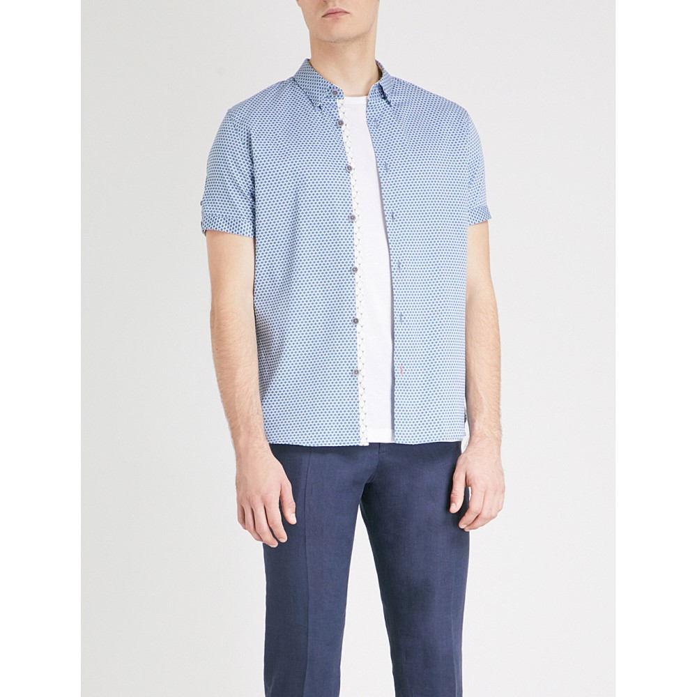 テッドベーカー メンズ トップス 半袖シャツ【gudvu geometric-print regular-fit cotton shirt】Blue