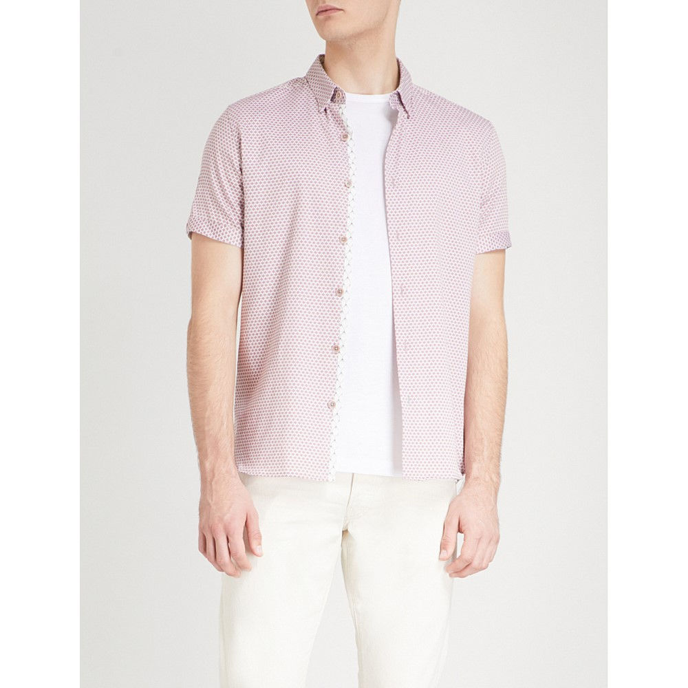テッドベーカー メンズ トップス 半袖シャツ【gudvu geometric-print regular-fit cotton shirt】Light pink