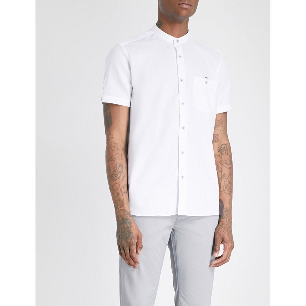 テッドベーカー メンズ トップス 半袖シャツ【band-collar slim-fit cotton-blend shirt】White
