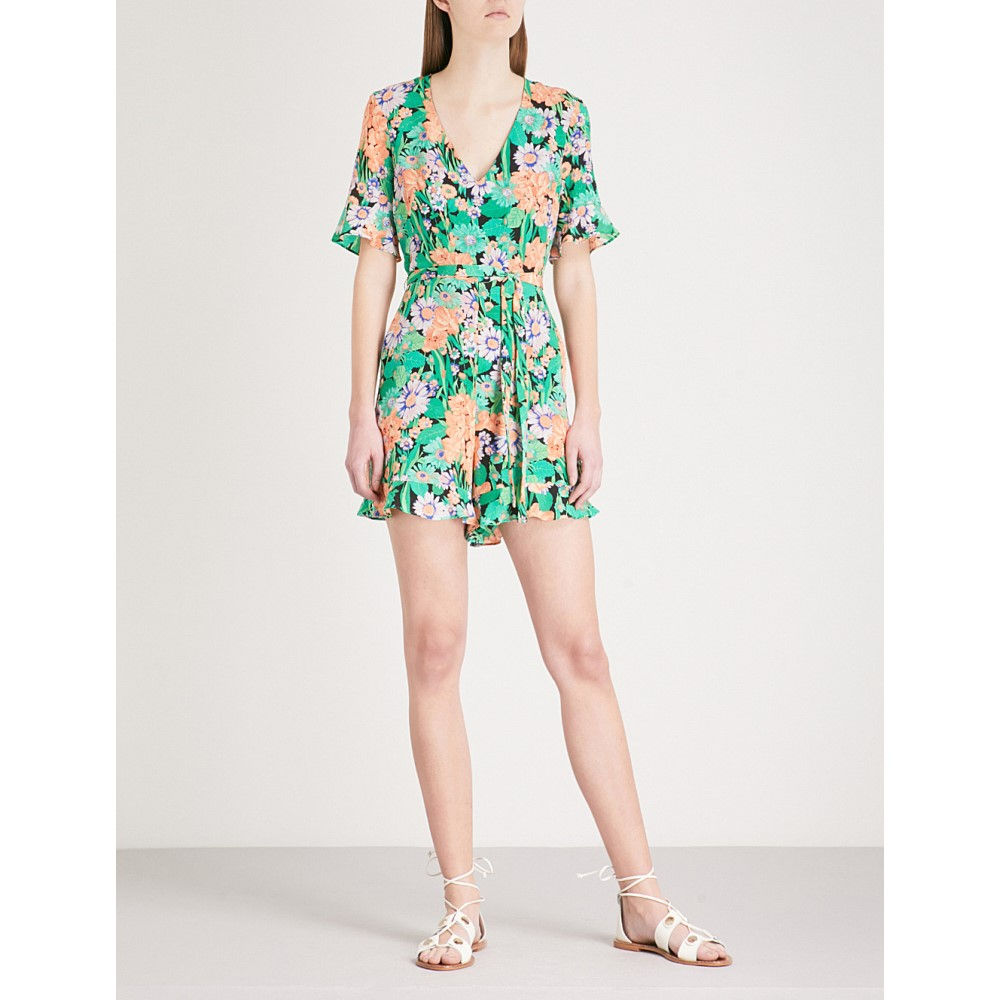 サンドロ レディース ワンピース・ドレス オールインワン【all-over floral print silk playsuit】Vert