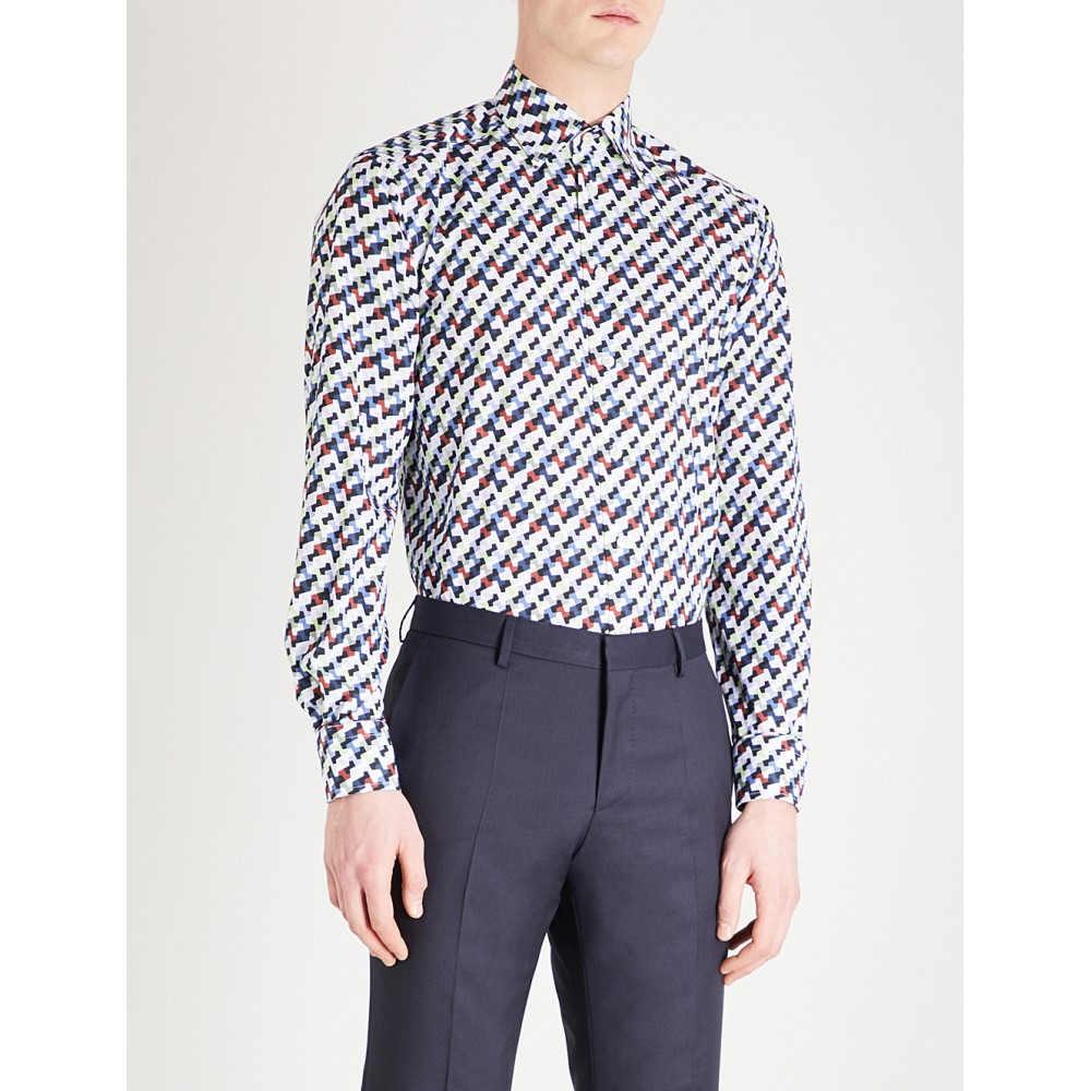 イートン メンズ トップス シャツ【geometric pattern slim-fit cotton shirt】Blue