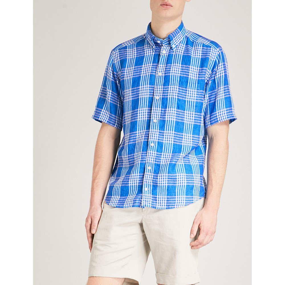 イートン メンズ トップス 半袖シャツ【checked slim-fit linen shirt】Blue