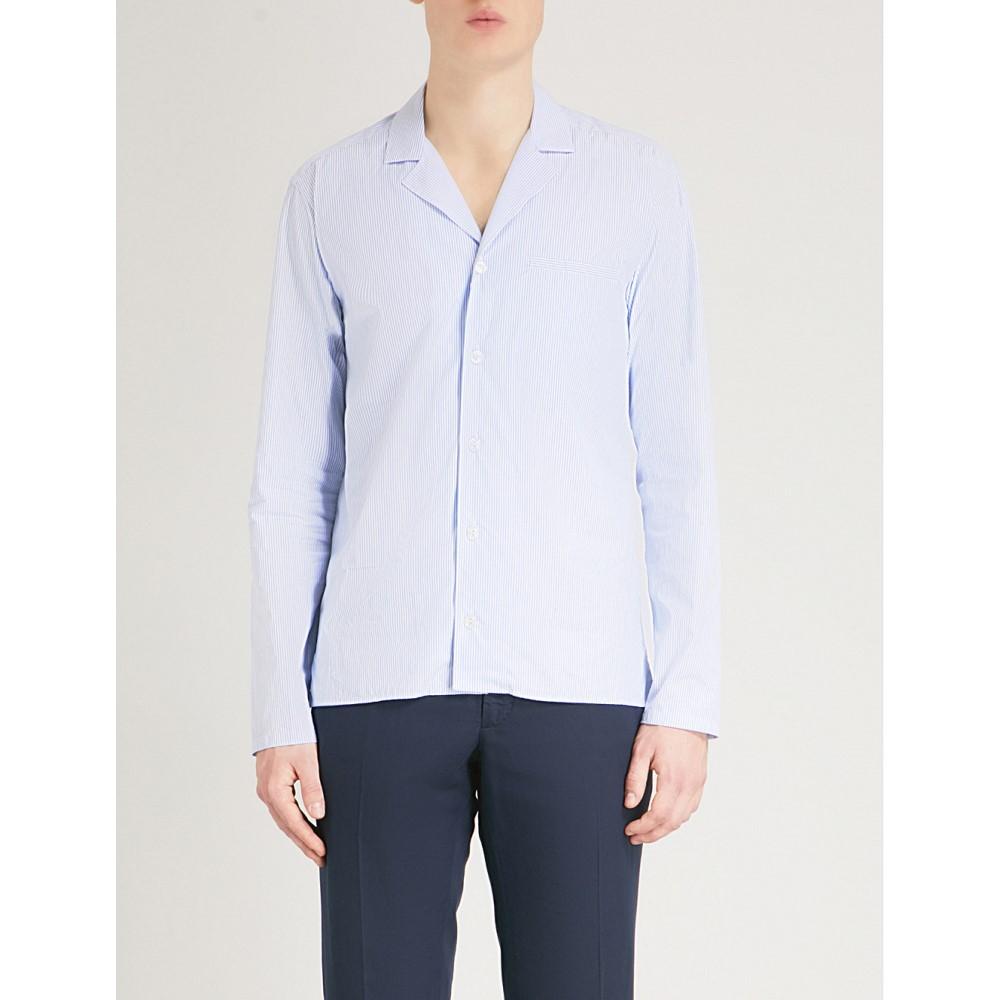 イートン メンズ トップス シャツ【striped slim-fit cotton shirt】Blue