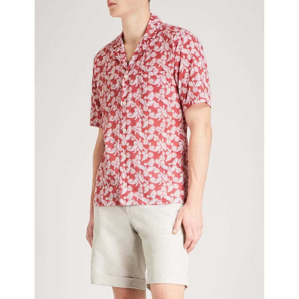 イートン メンズ トップス 半袖シャツ【leaf and polka dot-print slim-fit cotton shirt】Pink/red