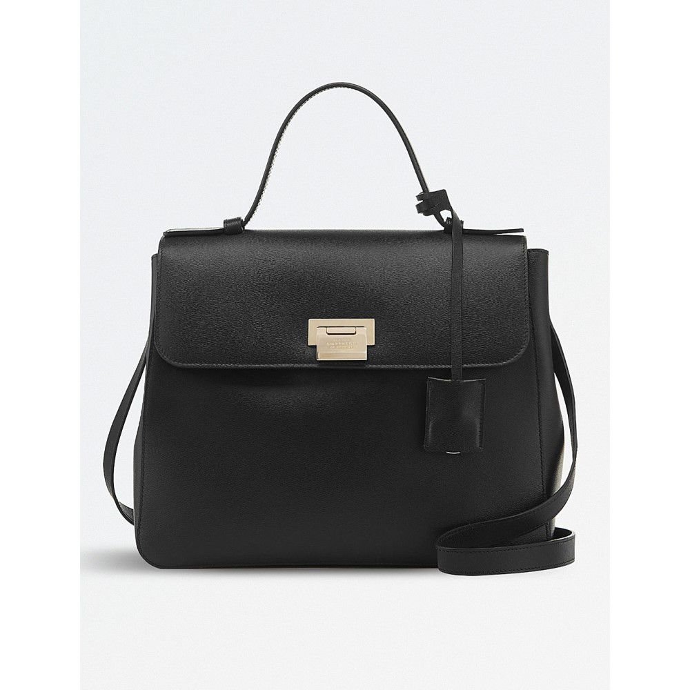 スマイソン レディース バッグ ハンドバッグ【grosvenor top handle leather bag】Black