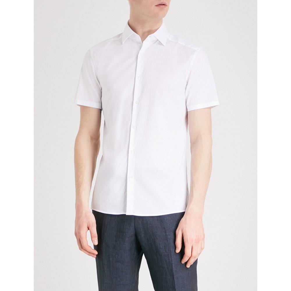 リース メンズ トップス 半袖シャツ【redmayne regular-fit cotton shirt】White