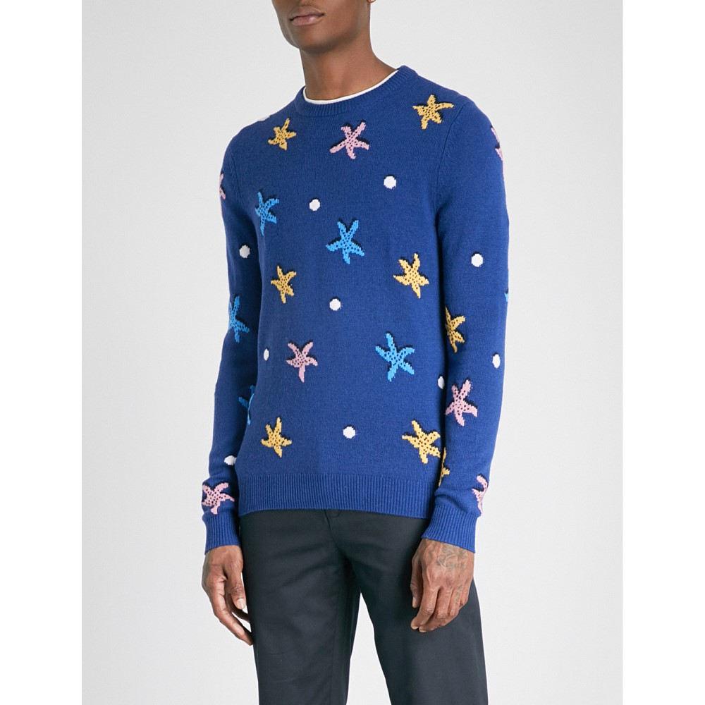リース メンズ トップス ニット・セーター【sandstorm embroidered wool and alpaca-blend jumper】Cobalt