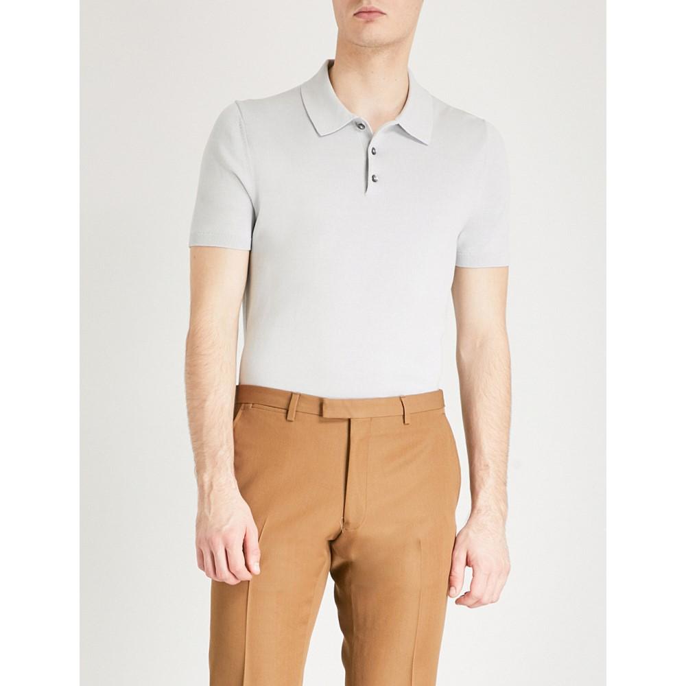 リース メンズ トップス ポロシャツ【varsity knitted-cotton polo shirt】Ice grey