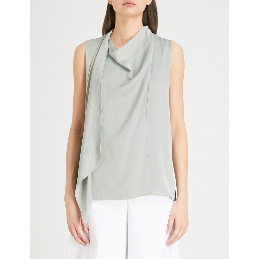 リース レディース トップス【claire draped satin top】Sage green