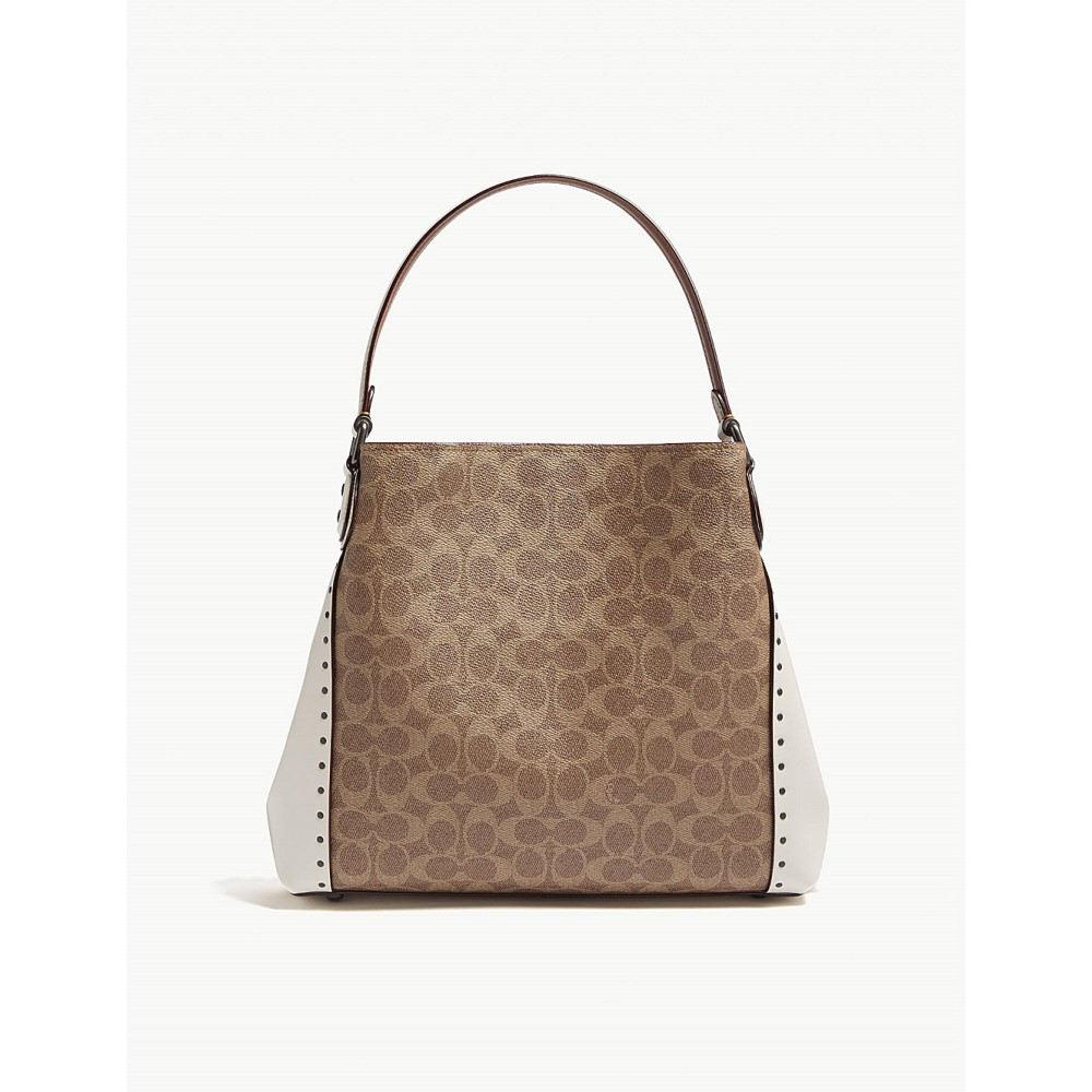 コーチ レディース バッグ ショルダーバッグ【edie 31 logo print leather shoulder bag】Bp/chalk
