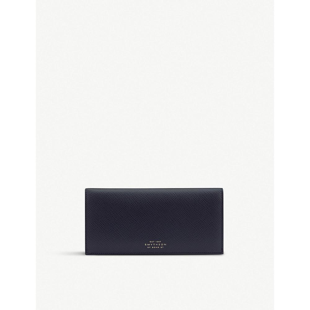 スマイソン レディース 財布【panama calf leather slim coat wallet】Navy