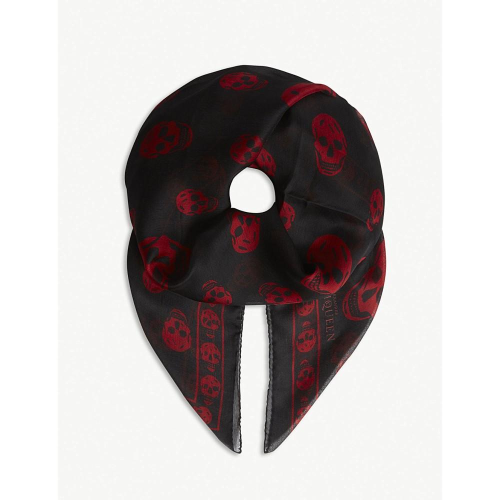 アレキサンダー マックイーン レディース マフラー・スカーフ・ストール【skull print silk scarf】Black red