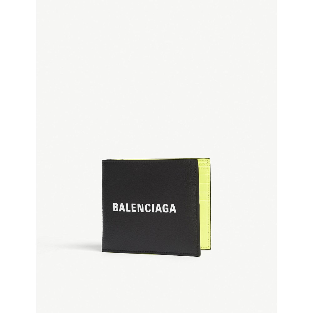 バレンシアガ レディース 財布【everyday logo grained leather billfold wallet】Black yellow