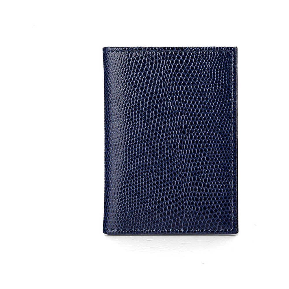 アスピナル オブ ロンドン レディース カードケース・名刺入れ【double-fold leather card case】Navy