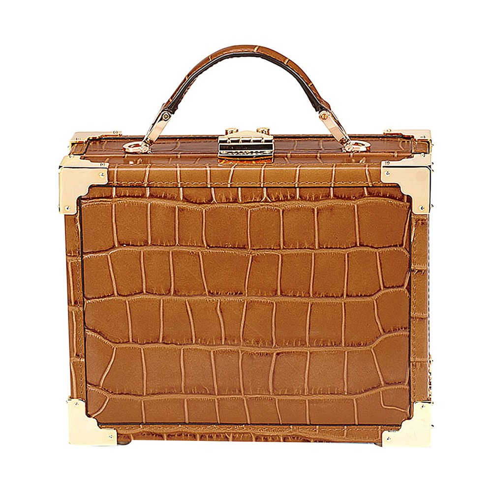 アスピナル オブ ロンドン レディース バッグ ショルダーバッグ【mini trunk crocodile-embossed leather shoulder bag】