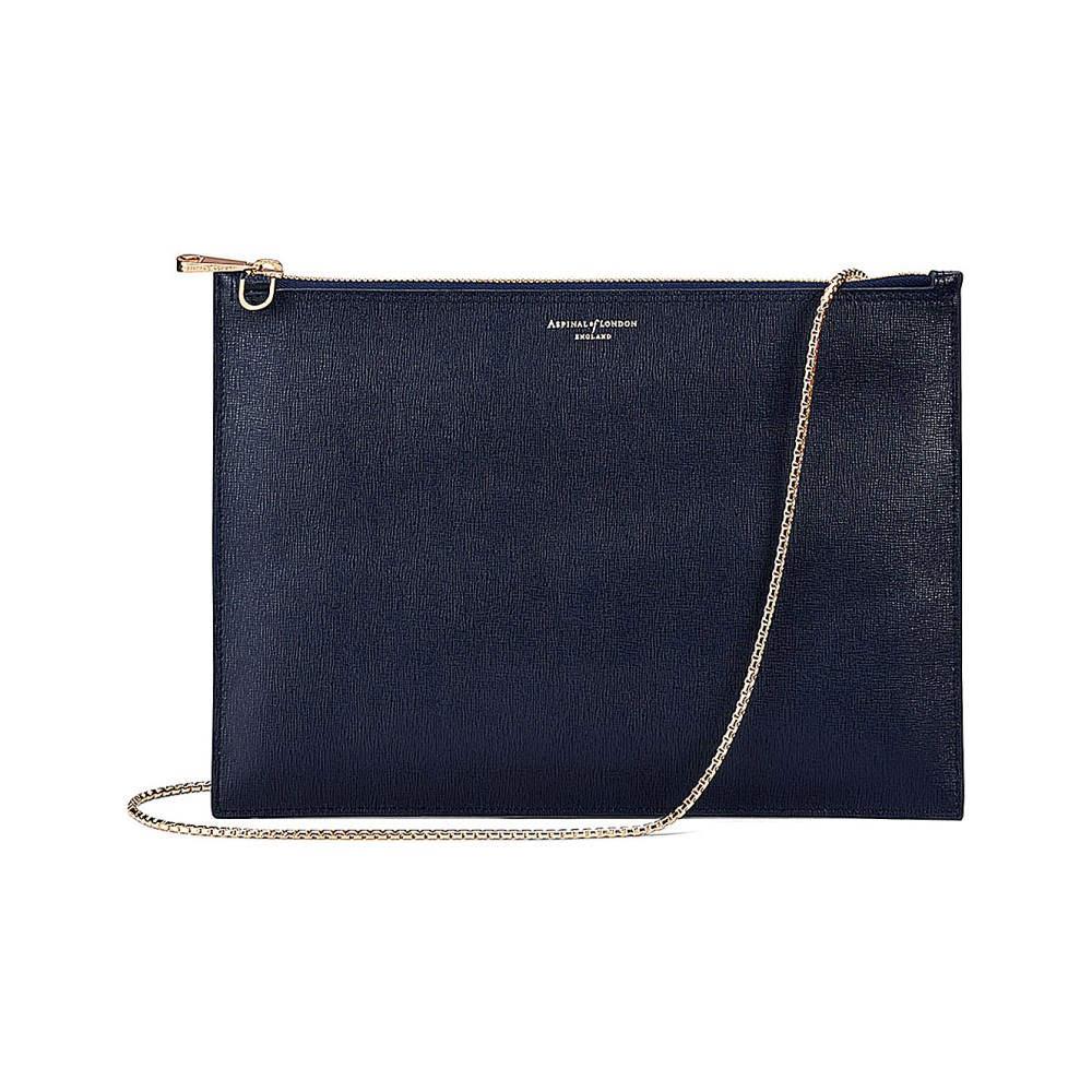 アスピナル オブ ロンドン レディース バッグ クラッチバッグ【soho flat saffiano leather clutch bag】Navy