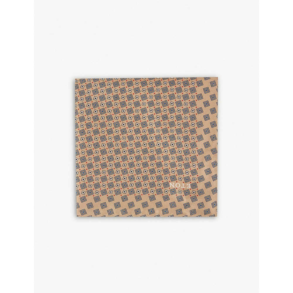 イートン メンズ ハンカチ・チーフ【square-tile silk pocket square】Offwhite/brown