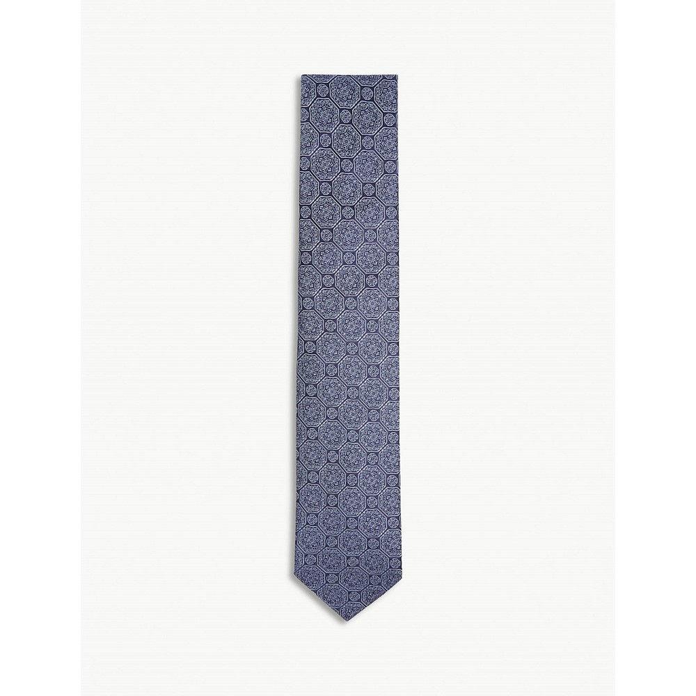 イートン メンズ ネクタイ【medallion print silk tie】Blue