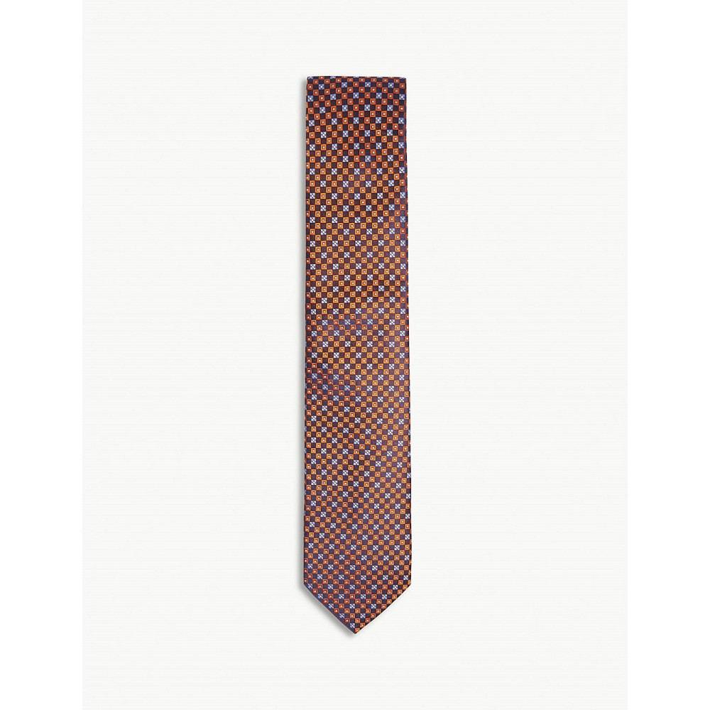 イートン メンズ ネクタイ【floral tile print silk tie】Yellow/orange
