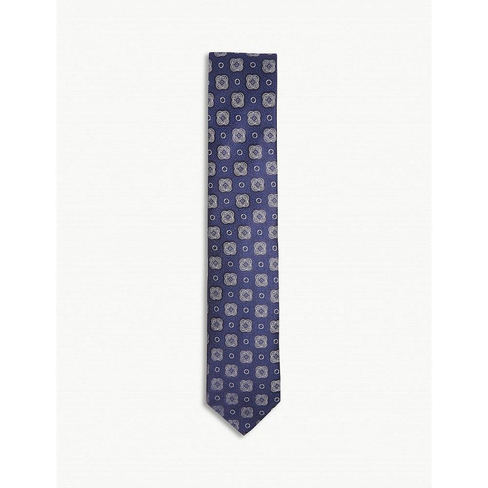 イートン メンズ ネクタイ【floral medallion silk tie】Blue