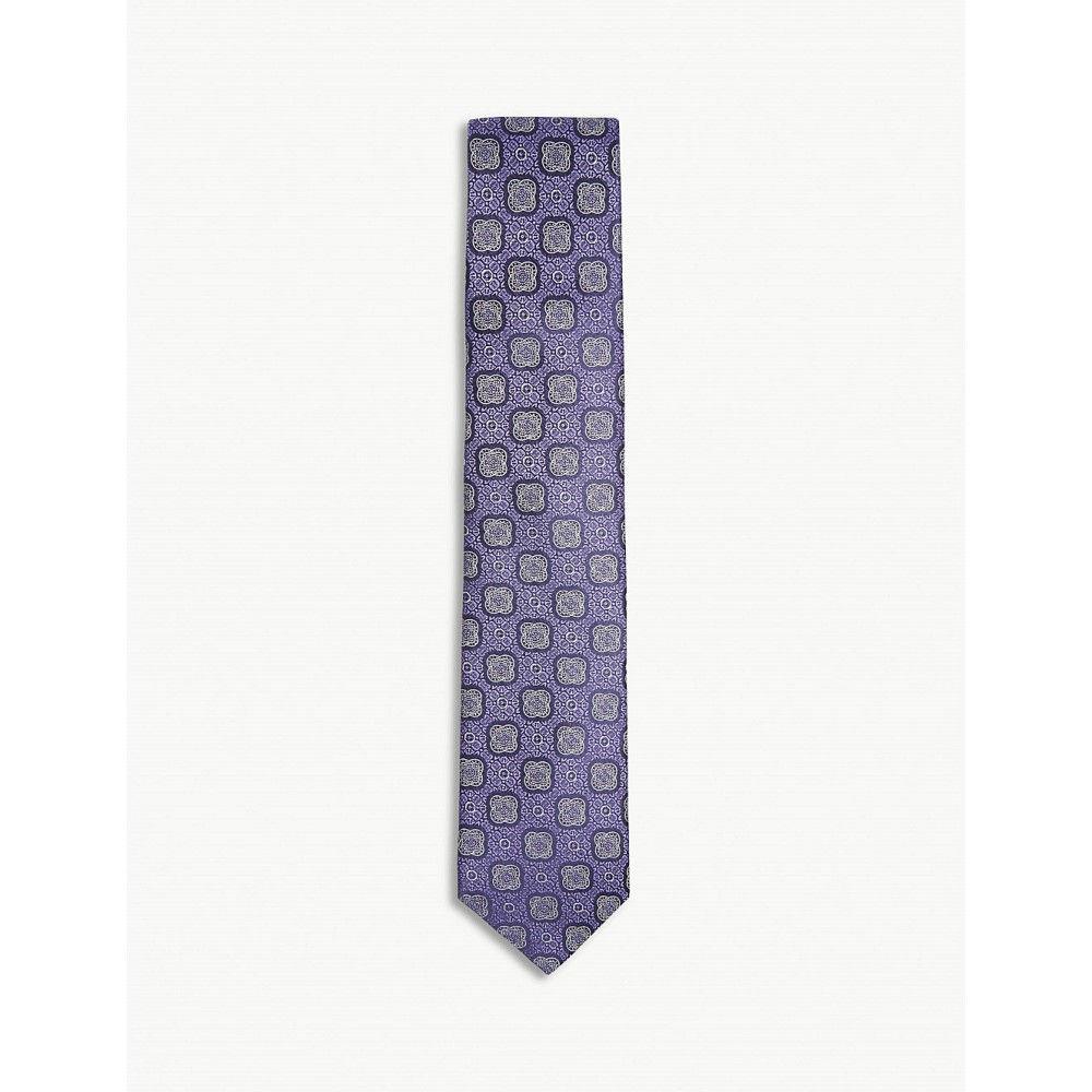 イートン メンズ ネクタイ【floral medallion silk tie】Purple