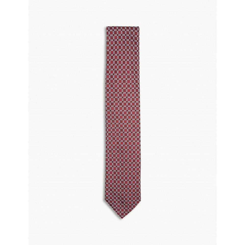 イートン メンズ ネクタイ【chain-link circle silk tie】Pink/red