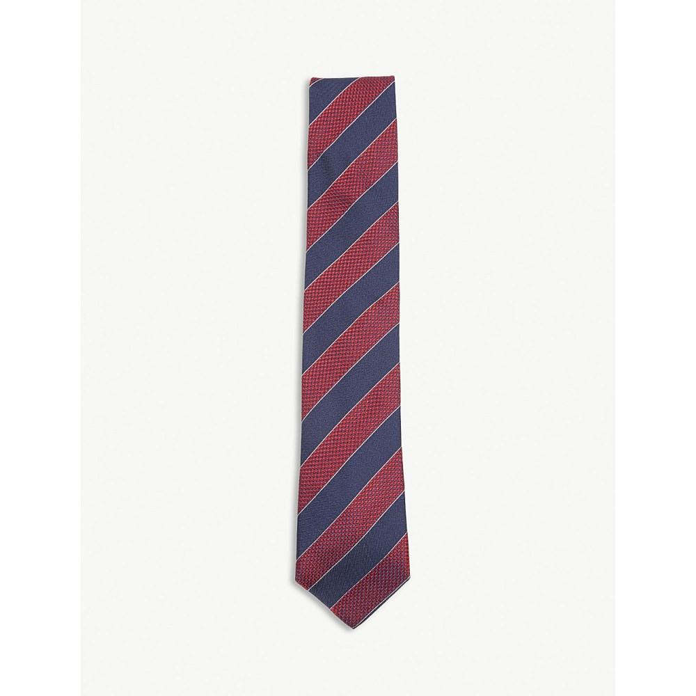 イートン メンズ ネクタイ【diagonal-stripe silk tie】Pink/red