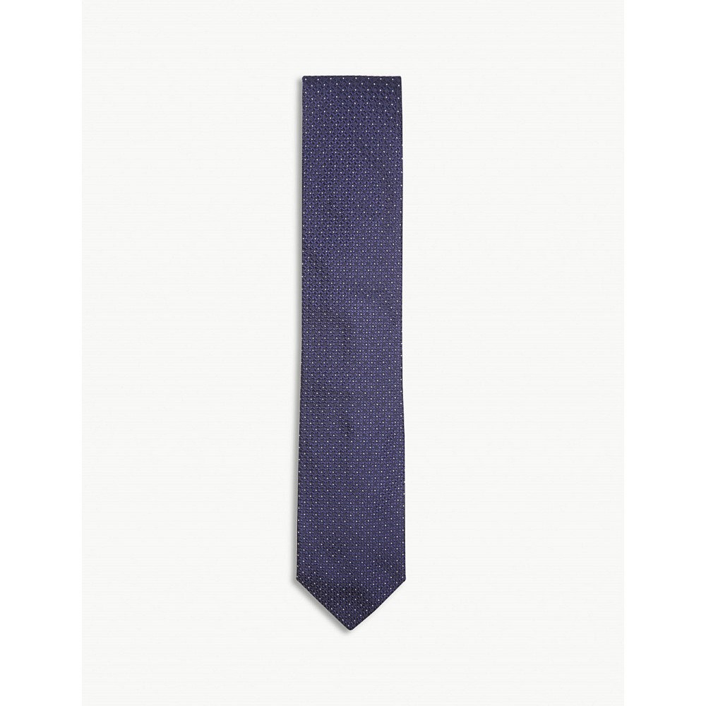 イートン メンズ ネクタイ【micro-dot textured silk tie】Blue
