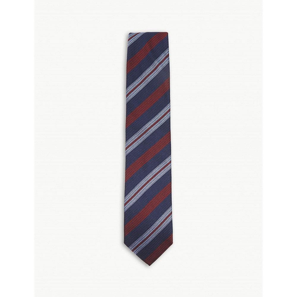 イートン メンズ ネクタイ【diagonal-stripe cotton and silk tie】Pink/red